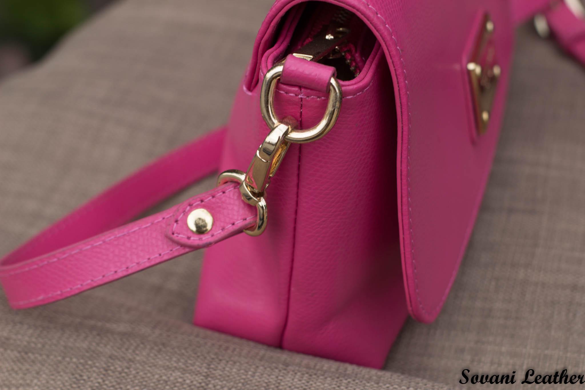 Túi xách nữ da bò màu hồng sen 20