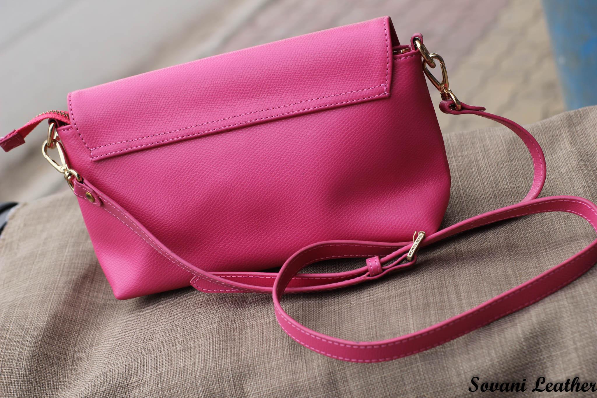 Túi xách nữ da bò màu hồng sen 21