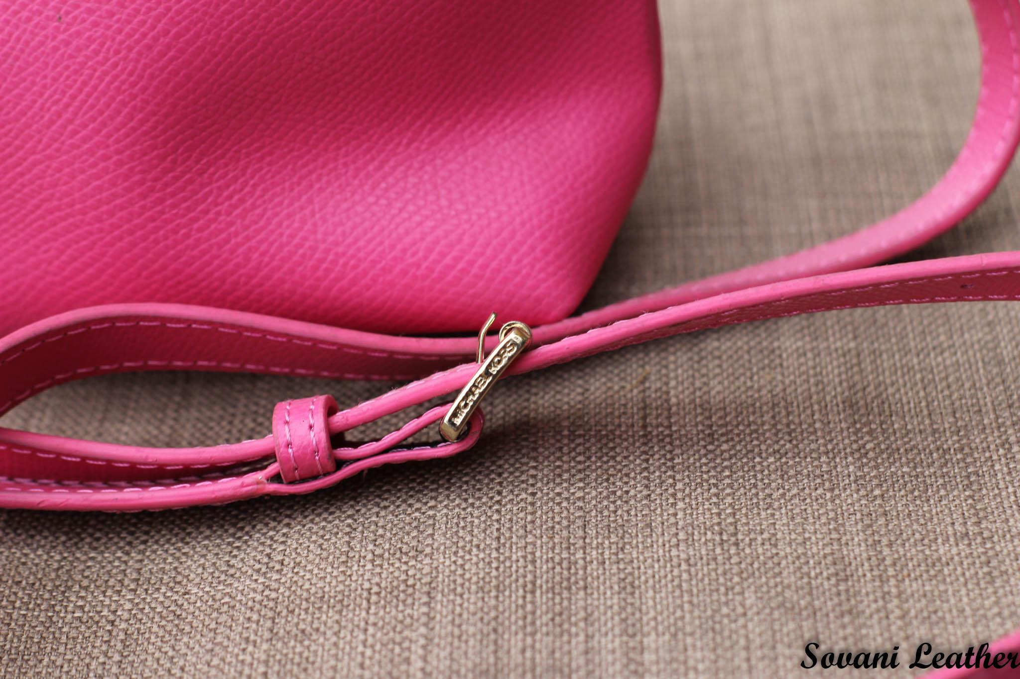 Túi xách nữ da bò màu hồng sen 22