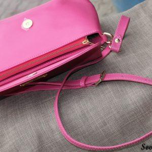 Túi xách nữ da bò màu hồng sen 15