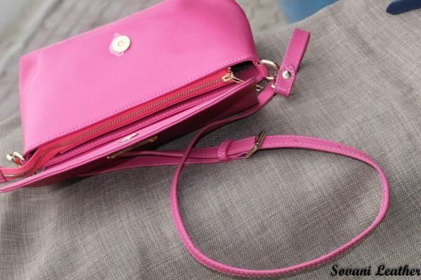 Túi xách nữ da bò màu hồng sen 8