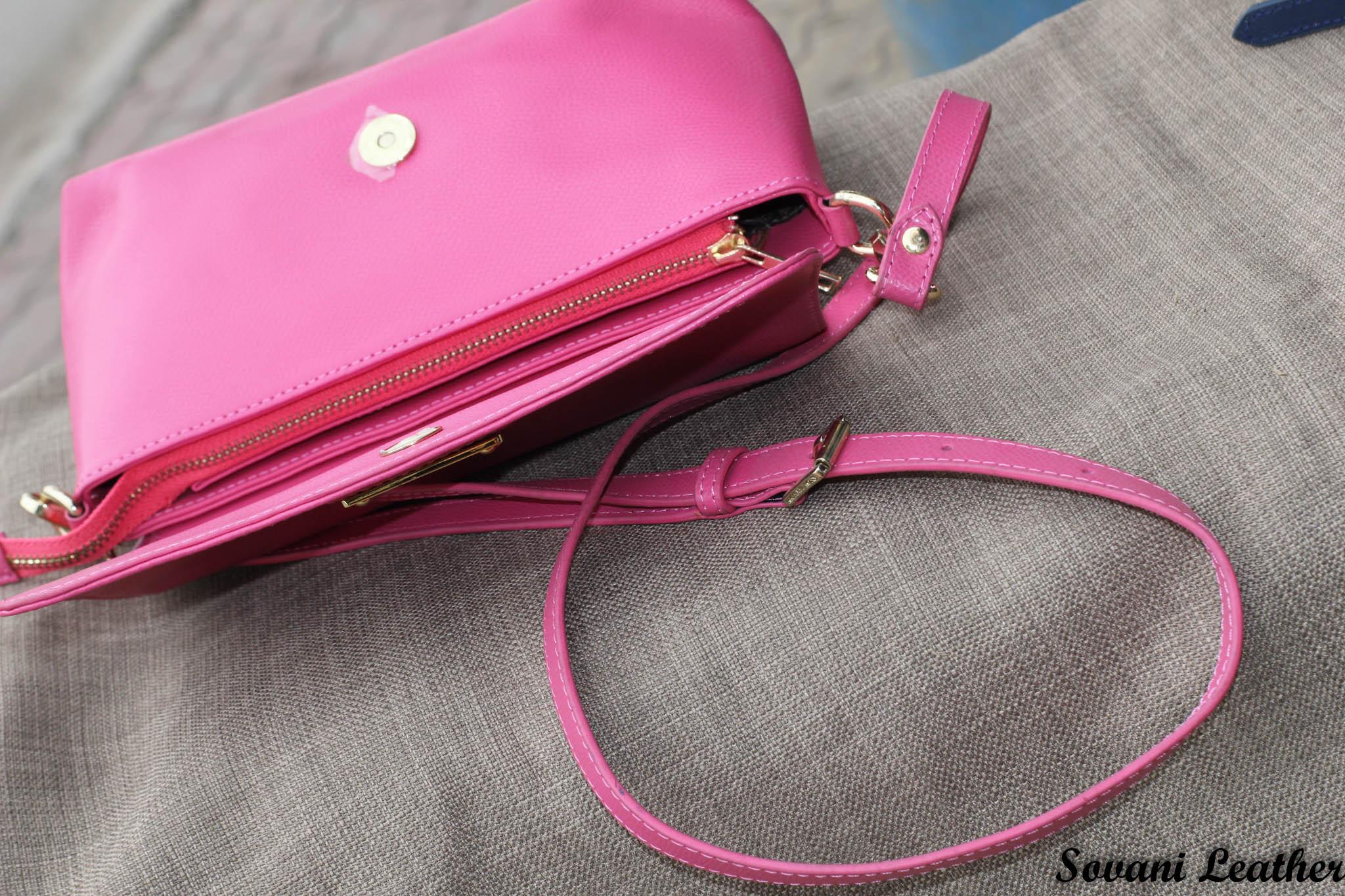 Túi xách nữ da bò màu hồng sen 23