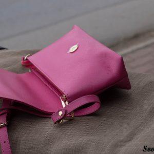 Túi xách nữ da bò màu hồng sen 16