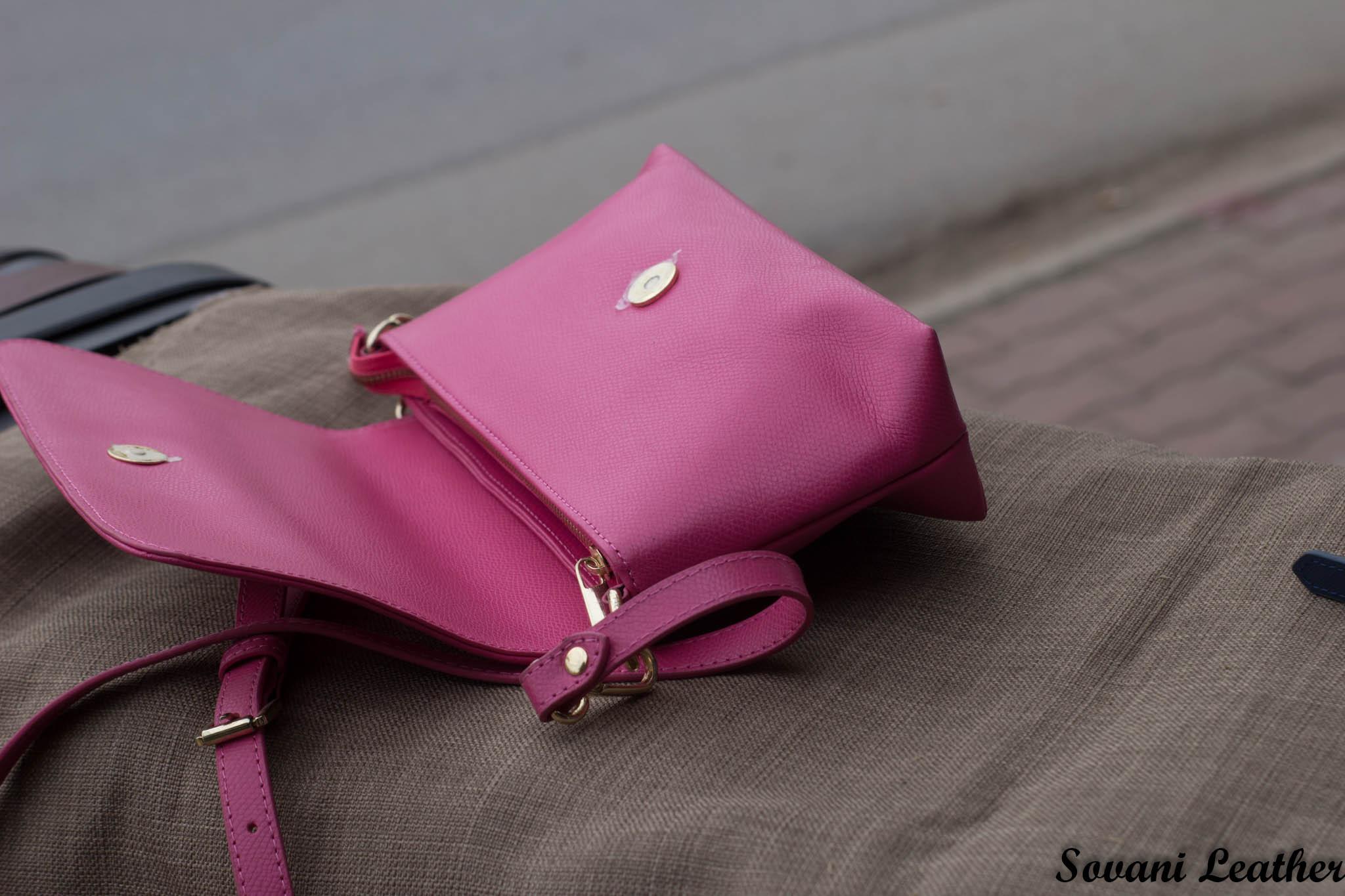 Túi xách nữ da bò màu hồng sen 24