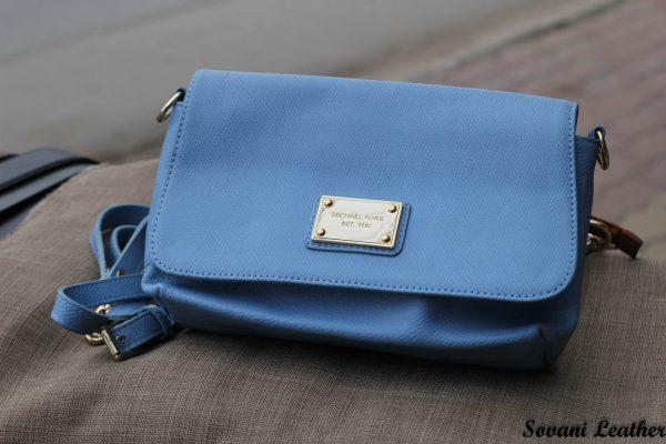 Túi xách nữ da bò màu xanh da trời nhạt 5