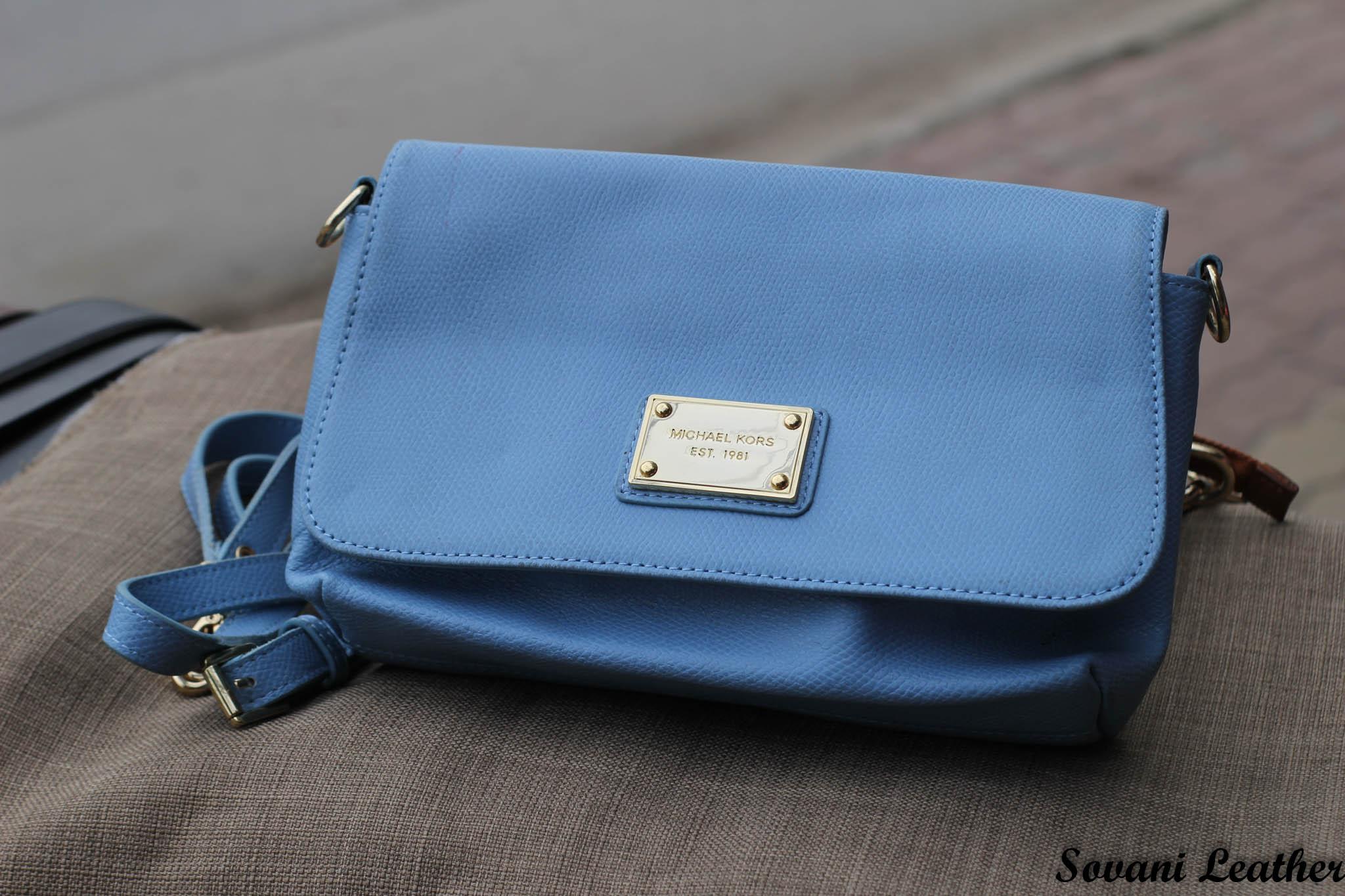 Túi xách nữ da bò màu xanh da trời nhạt 9