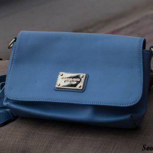 Túi xách nữ da bò màu xanh da trời nhạt 7