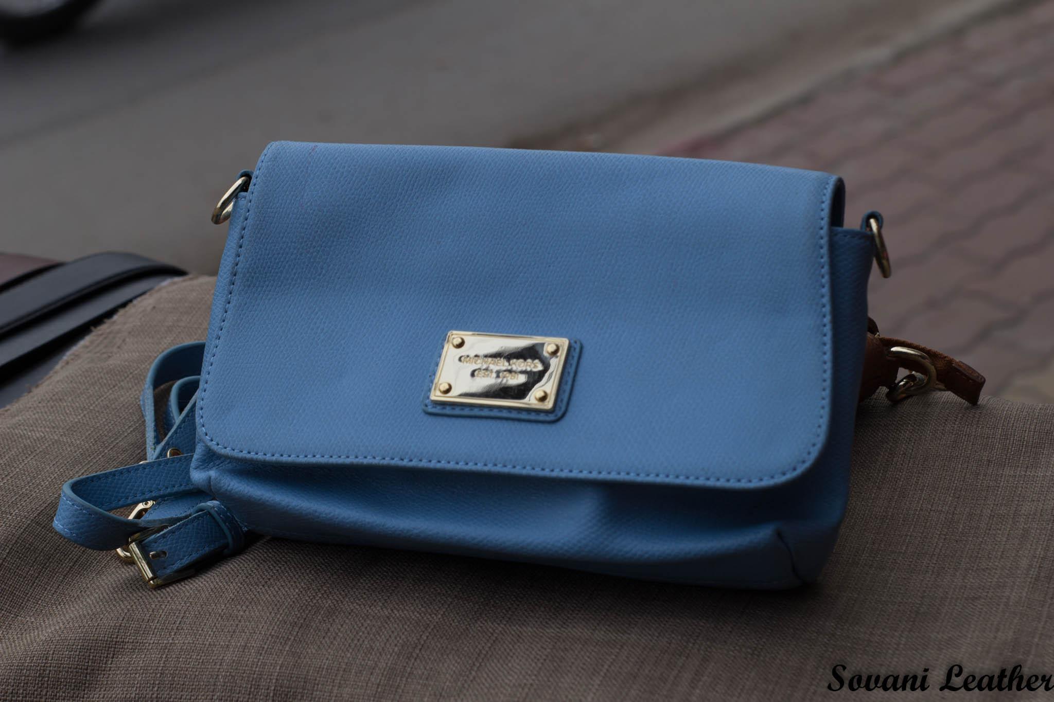 Túi xách nữ da bò màu xanh da trời nhạt 10