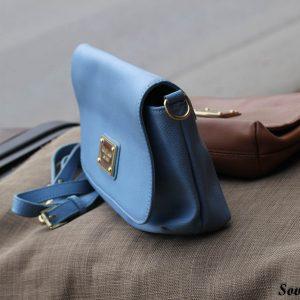 Túi xách nữ da bò màu xanh da trời nhạt 6