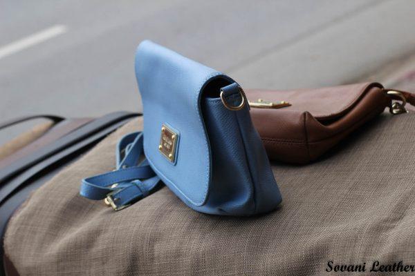Túi xách nữ da bò màu xanh da trời nhạt 2
