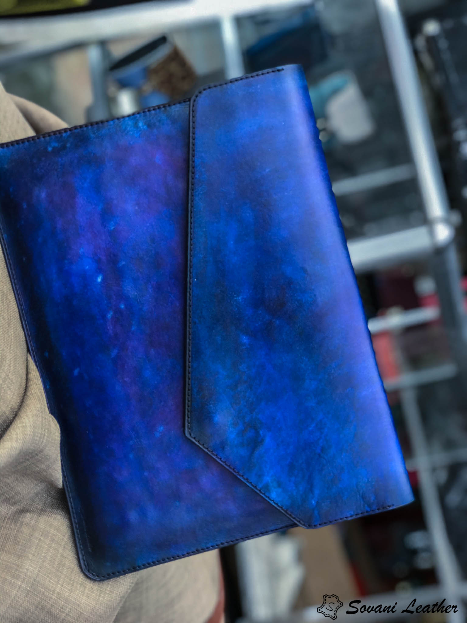 Bao da Macbook – Laptop – Surface – Ipad – table tap patina Xanh navy độc lạ 18