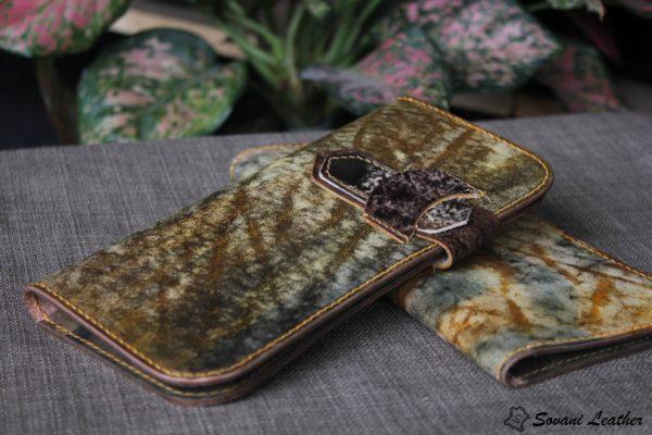 Ví cầm tay handmade cao cấp – Vegetable tan patina 3