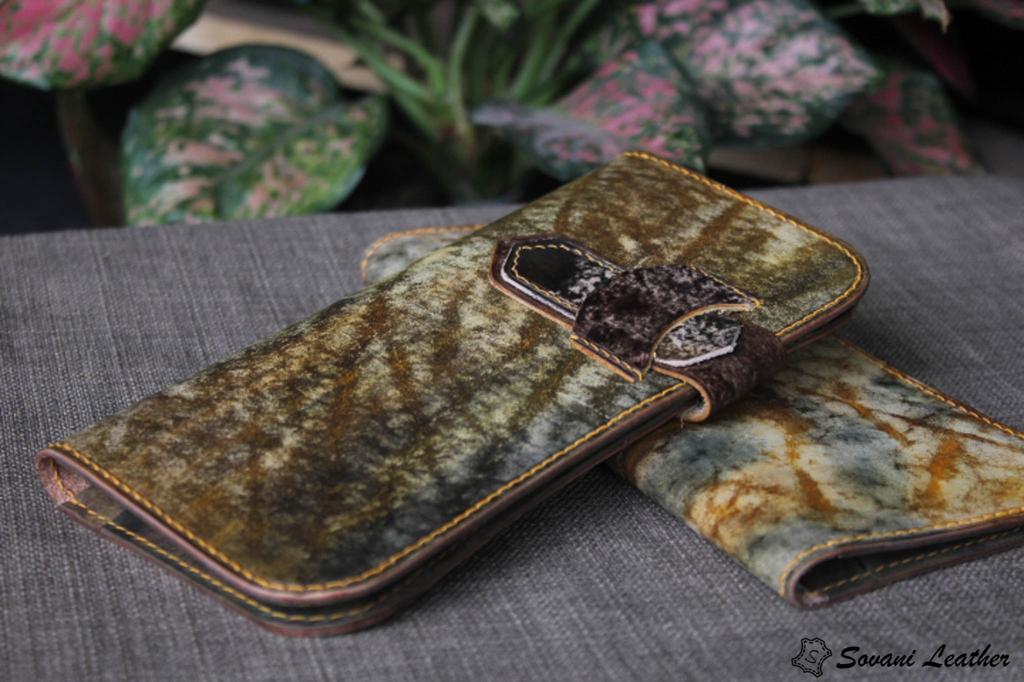 Ví cầm tay handmade cao cấp – Vegetable tan patina 19