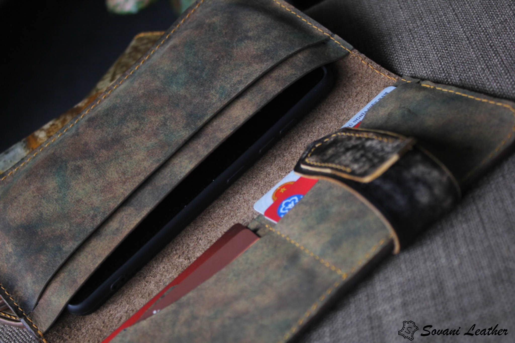 Ví cầm tay handmade cao cấp – Vegetable tan patina 22