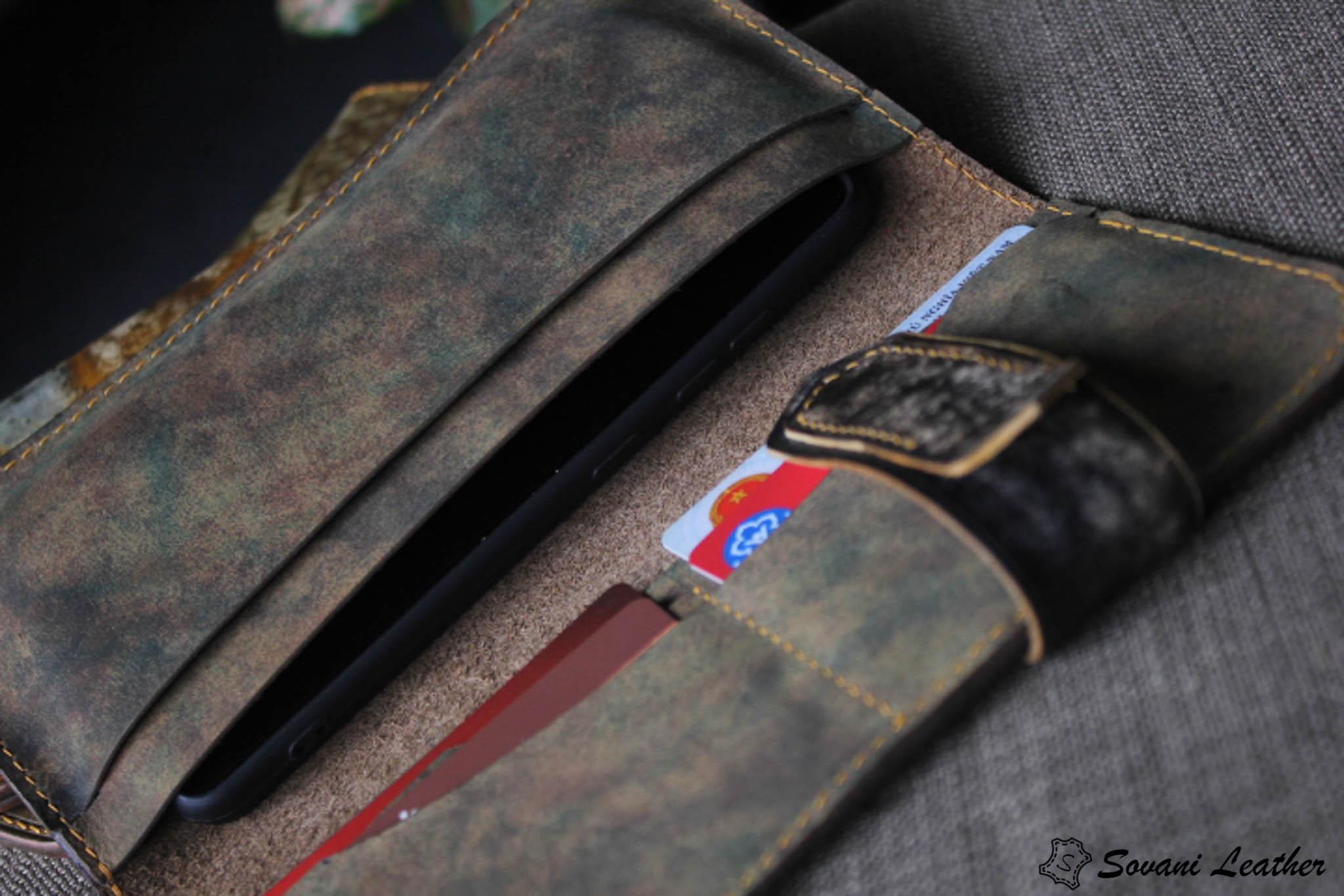 Ví cầm tay handmade cao cấp – Vegetable tan patina 18