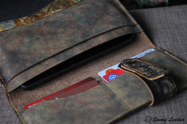 Ví cầm tay handmade cao cấp – Vegetable tan patina 9