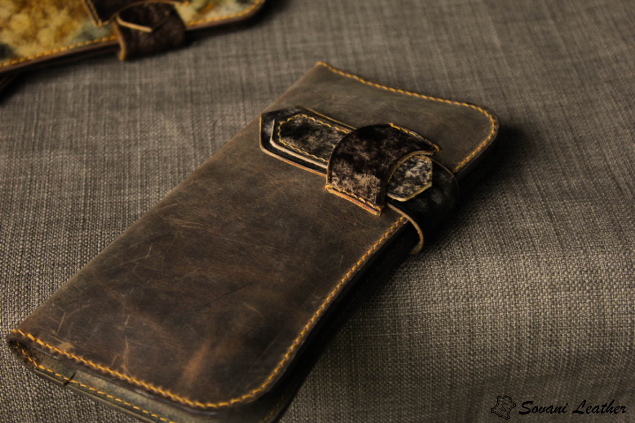 Ví cầm tay handmade cao cấp – Vegetable tan patina 21