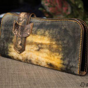 Ví cầm tay handmade cao cấp – Vegetable tan patina 17