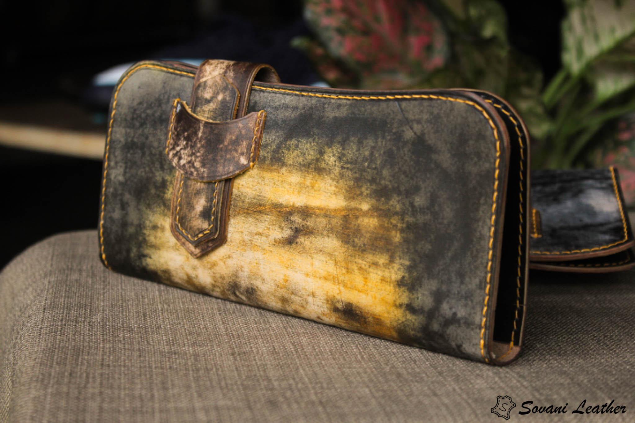 Ví cầm tay handmade cao cấp – Vegetable tan patina 25