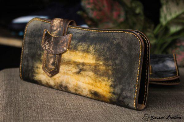 Ví cầm tay handmade cao cấp – Vegetable tan patina 5