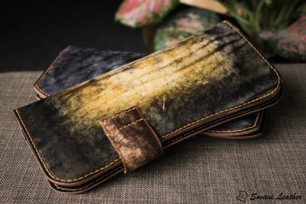Ví cầm tay handmade cao cấp – Vegetable tan patina 4