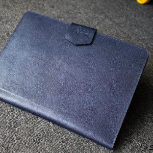 Túi da handmade đựng Macbook, Laptop Surface xanh navi 26