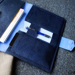 Túi da handmade đựng Macbook, Laptop Surface xanh navi 20