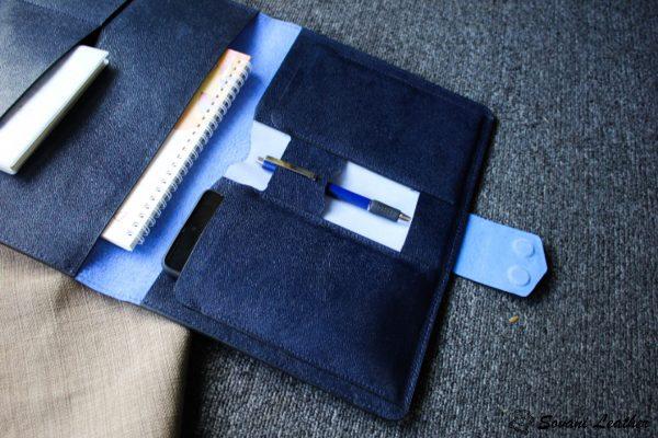 Túi da handmade đựng Macbook, Laptop Surface xanh navi 8