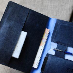 Túi da handmade đựng Macbook, Laptop Surface xanh navi 18