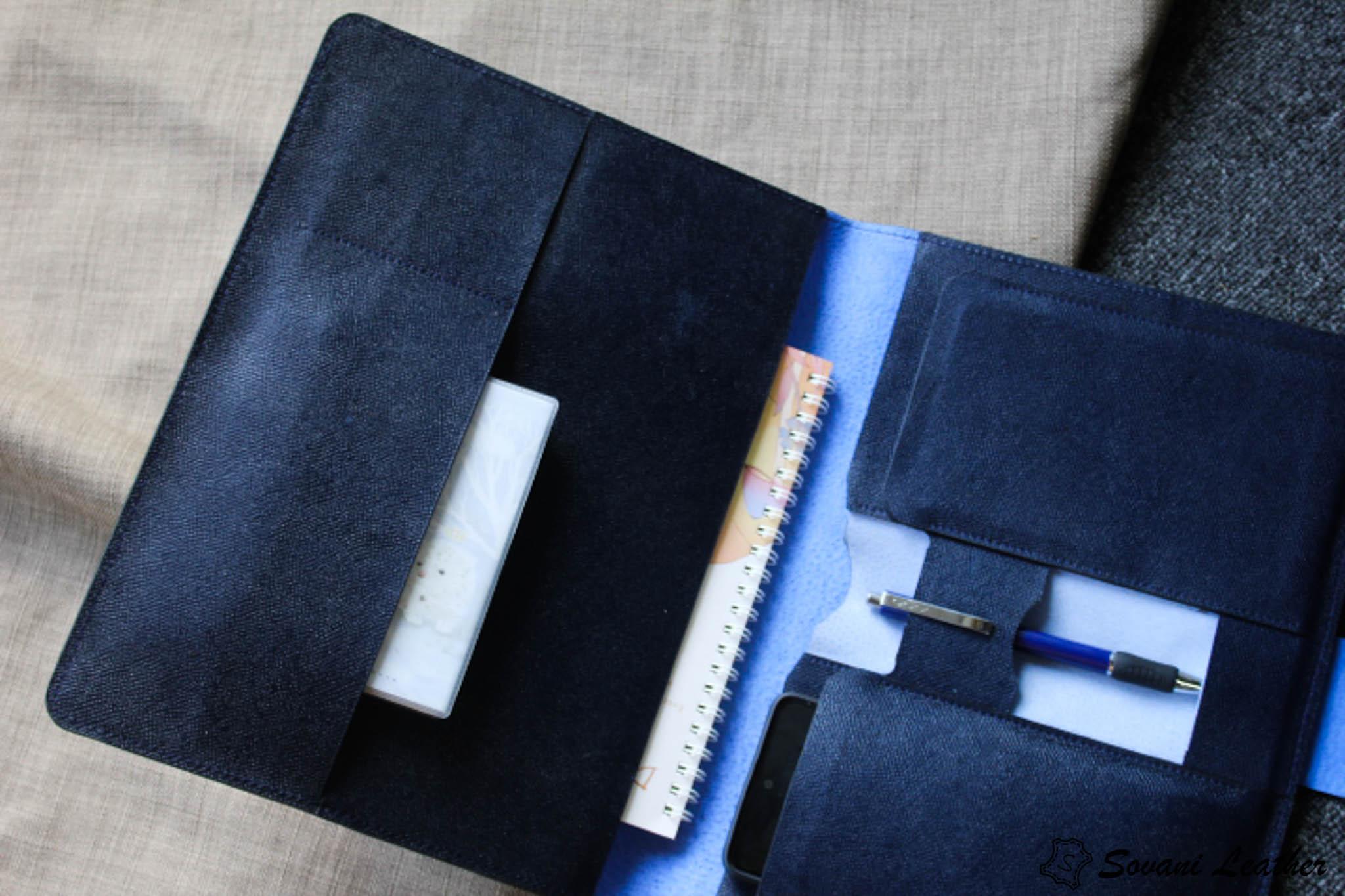 Túi da handmade đựng Macbook, Laptop Surface xanh navi 32