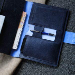 Túi da handmade đựng Macbook, Laptop Surface xanh navi 17