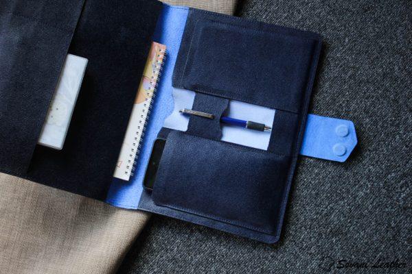 Túi da handmade đựng Macbook, Laptop Surface xanh navi 5