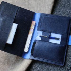 Túi da handmade đựng Macbook, Laptop Surface xanh navi 16