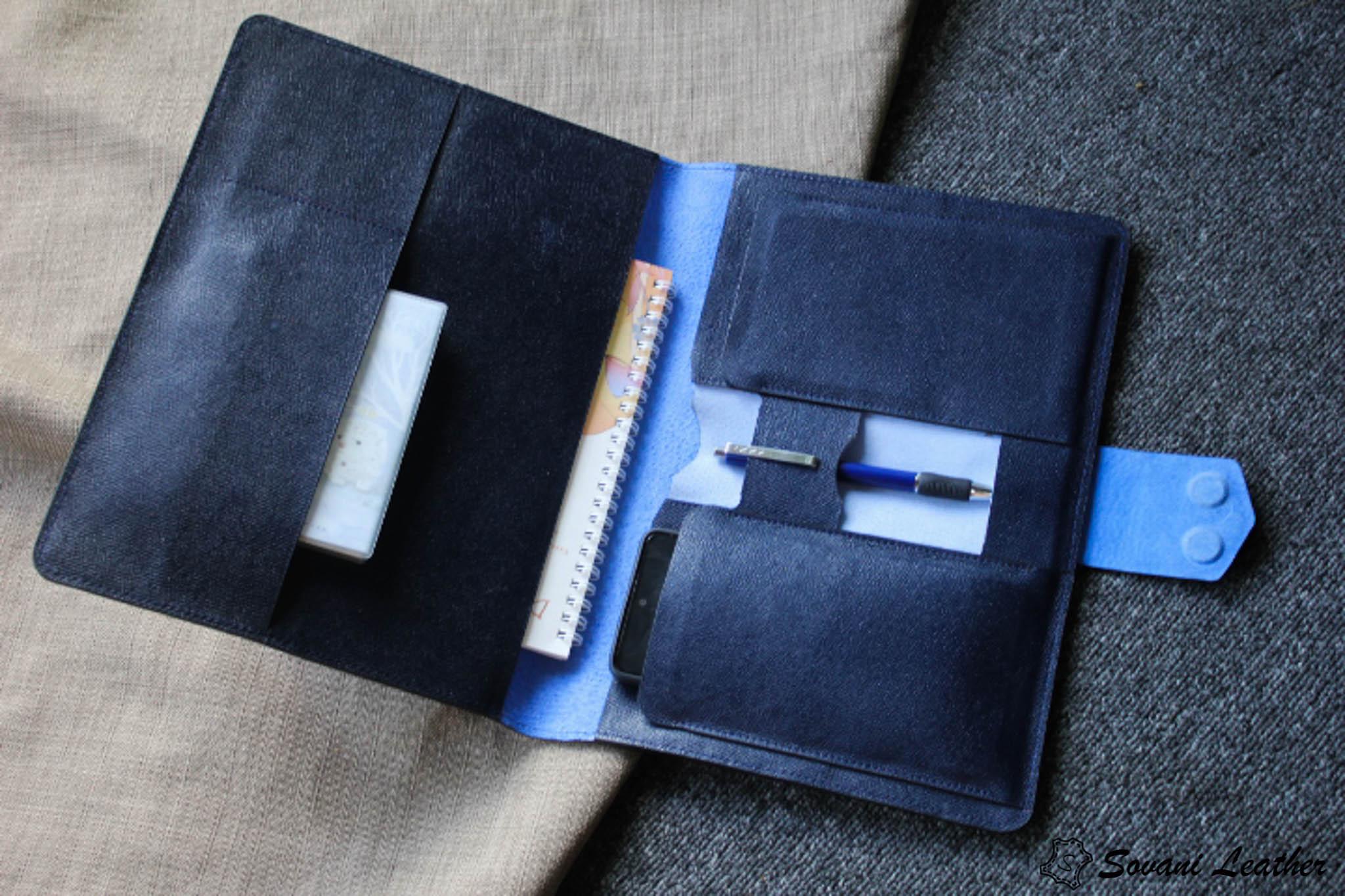 Túi da handmade đựng Macbook, Laptop Surface xanh navi 34