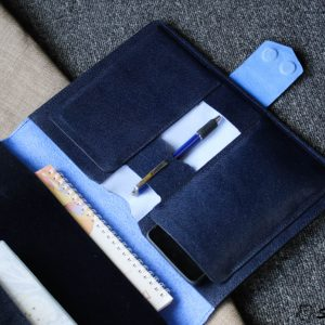 Túi da handmade đựng Macbook, Laptop Surface xanh navi 15