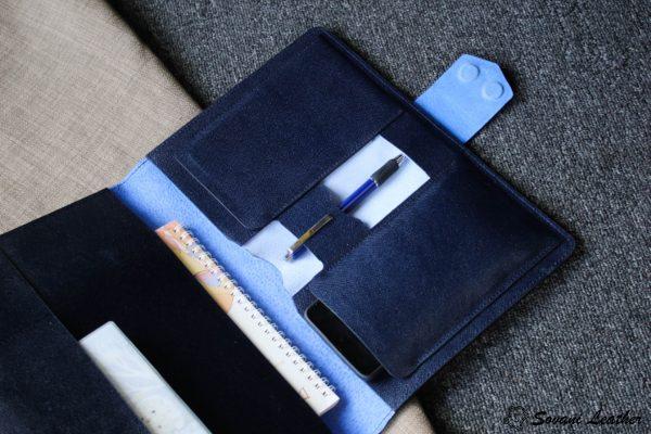 Túi da handmade đựng Macbook, Laptop Surface xanh navi 3