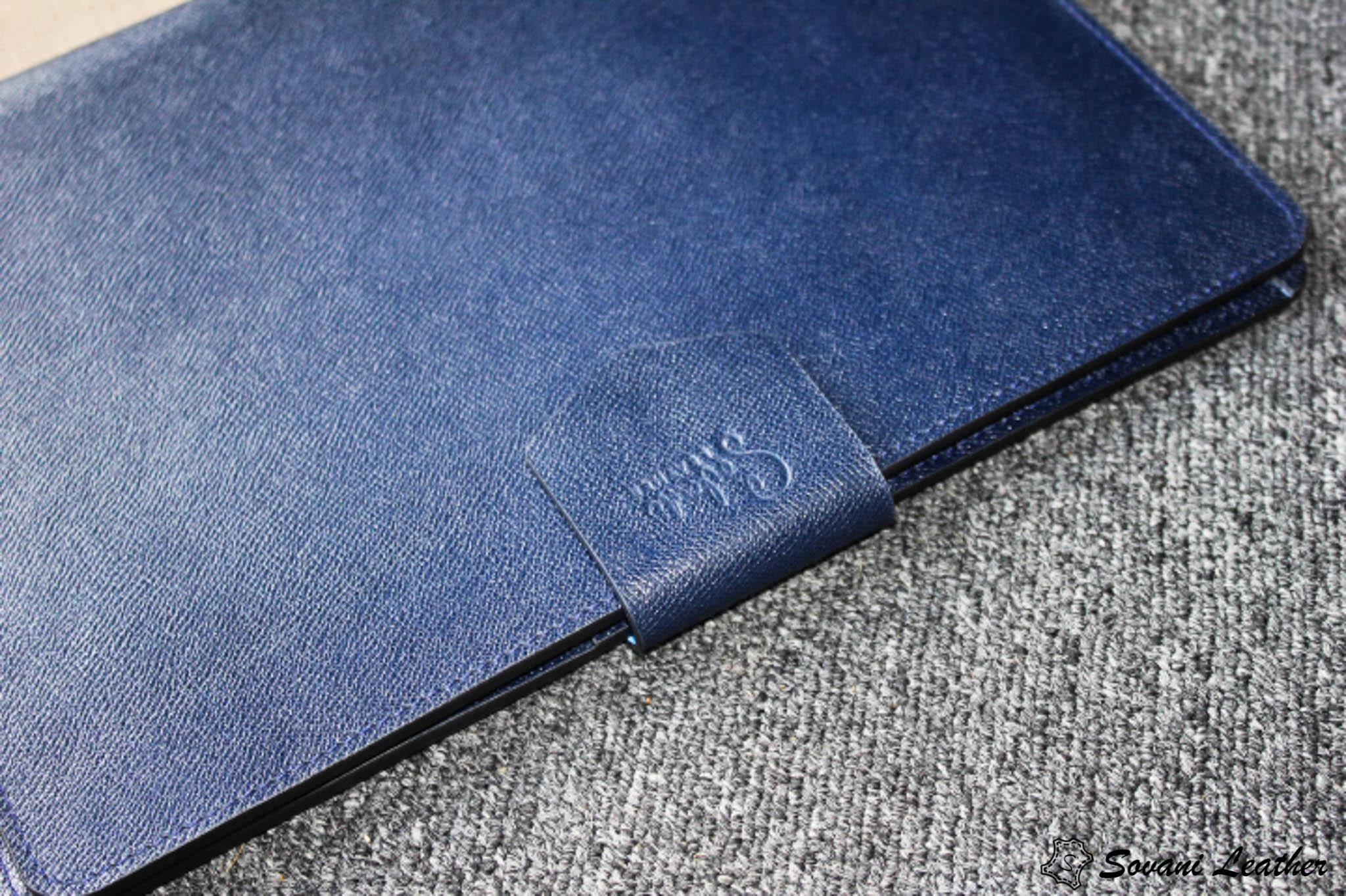Túi da handmade đựng Macbook, Laptop Surface xanh navi 36