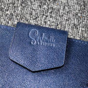 Túi da handmade đựng Macbook, Laptop Surface xanh navi 25