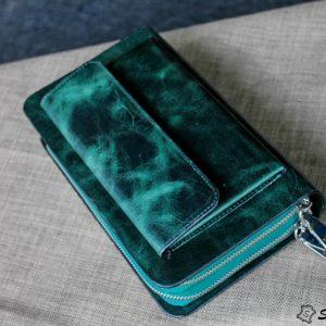 Ví Cầm Tay Zip 2 Khóa Cao Cấp -Da pullub wax nhập khẩu. 25