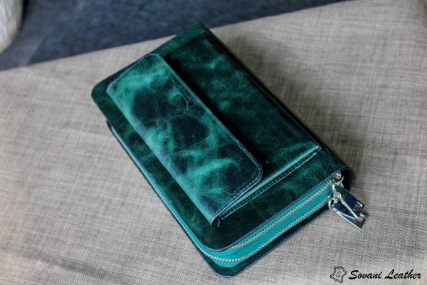 Ví Cầm Tay Zip 2 Khóa Cao Cấp -Da pullub wax nhập khẩu. 13