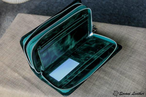 Ví Cầm Tay Zip 2 Khóa Cao Cấp -Da pullub wax nhập khẩu. 12